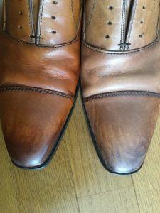 靴磨き前後の比較